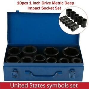 10pcs 1 Inch Drive Metric Deep Impact Socket Set Long Reach Impact Sockets New