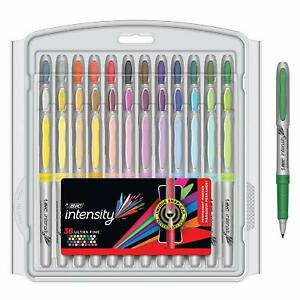 Bic Intensity Fashion Permanent Markers Ultra Fine Point Assorted Colors 36 c
