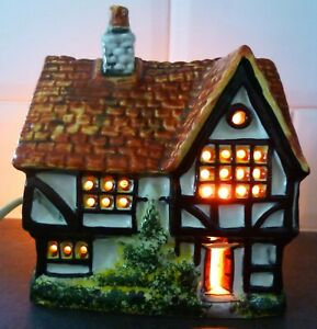 Vintage Hand Crafted Ceramic Medieval Cottage Lamp Light By Van Hill Pottery