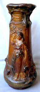 Art Nouveau Chalkware Vase Classic Girl With Goats Theme 17 Tall Exc Condition