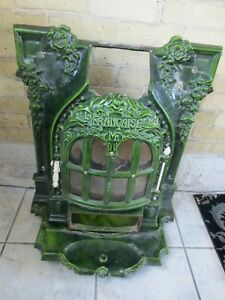 Antique French Enameled Fireplace Front