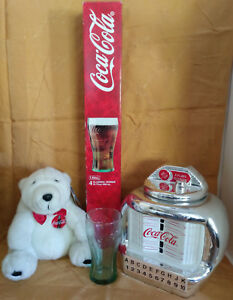 Coka Cola Glasses Juke Box Cookie Jar Polar Bear Coke Brand TV Soda Collection