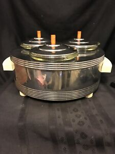 Vintage Deco Chase 90048 Pyrex Lined Chrome Food Warmer Working