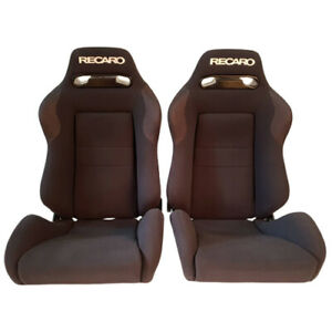 2 Jdm Recaro Sr3 Black Fabric Reclinable Bucket Racing Seats Mustang Bmw Cars