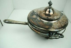 Vintage Silver Covered Chafing Warming Dish Ornate Heavy Poole Sheffield
