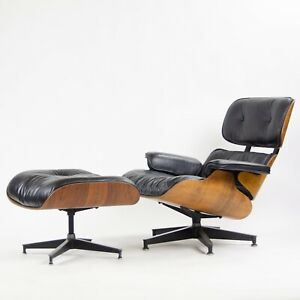 1960 S Herman Miller Eames Lounge Chair Ottoman Rosewood 670 671 Black Leather