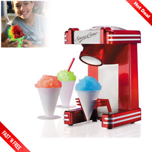 Retro Snow Cone Machine Ice Maker Professional Shaver Crusher Shaved Single