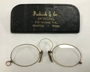 Antique 14k Gold Pince Nez Glasses Old Seattle Collectible Leather Case Address