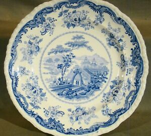 Antique Minton Blue Transfer Chinese Marine Dinner Plate 10 1 2 1822 1836