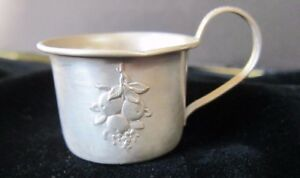 Antique Sterling Silver Webster Co Fruits Baby Cup With Gold Wash Inside C1900