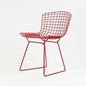 Nos Knoll Studio International Harry Bertoia Wire Side Chair Red Frame