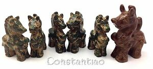 Amazing Group Of 6 Dragons 5 Kids 1 Guardian Old Chinese Jade Hand Carved