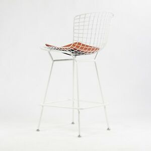 Vintage Knoll International Harry Bertoia White Counter Height Wire Stool W Pad