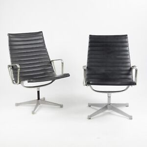 Early Pair Eames Herman Miller Aluminum Group Lounge Chairs Charcoal Upholstery