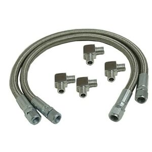 24 Long Stainless Steel Braided Transmission Cooler Hose Lines With Fittings