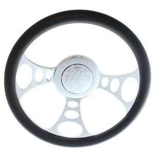 14 9 Bolt Chrome Half Wrap Pvc Steering Wheel Flame Horn Button For Chevy Gm