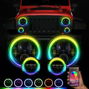 7 Rgb Led Halo Headlights Fog Lights Combo Kit For Jeep Wrangler Jk Muti Color