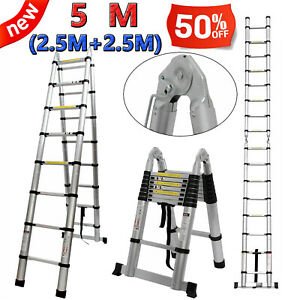 16 5ft 5m Ladders Aluminium Telescoping Multi purpose Extension Scaffolding Step