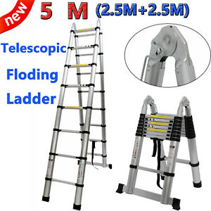 16 5ft Aluminum Multi purpose Telescopic Ladder Scaffolding Extension Foldable