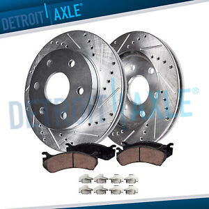 2002 2006 Escalade Chevy Avalanche 1500 Front Drilled Rotors Ceramic Brake Pads