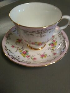 Queen Anne Bone China Pink Floral Tea Cup Saucer Ridgeway Potteries England