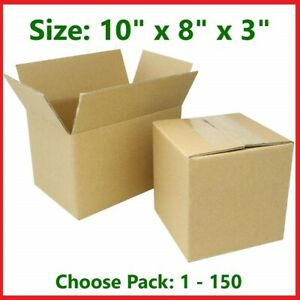 10x8x3 Cardboard Packing Mailing Gift Moving Shipping Boxes Corrugated Carton