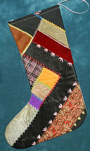 Awesome Antique Vintage Crazy Quilt Christmas Stocking Cutter Quilt Cq5