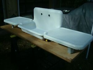 Early 1900 S Cast Iron Porcelain Farm House Kitchen Sink With Drainboards