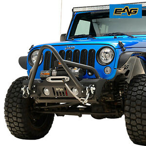 Eag Stinger Front Bumper With Winch Plate Fit For 2007 2018 Jeep Wrangler Jk