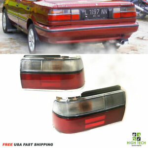 Taillights Lamps Red Signal Light Chrome Set Fit For 88 92 Toyota Corolla Sedan