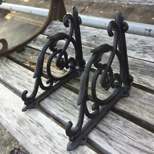 2 Cast Iron Antique Star Brackets Garden Braces Shelf Bracket Vintage