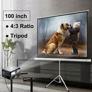 Portable 100 4 3 Projector Screen Home Meeting Room Tripod Stand Projection