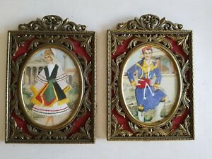 Italian Made Vintage Ornate Decorative Brass Metal Picture Frames