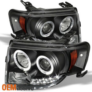 Fits 08 12 Escape Black Dual Halo Drl Daylight Led Strip Projector Headlights