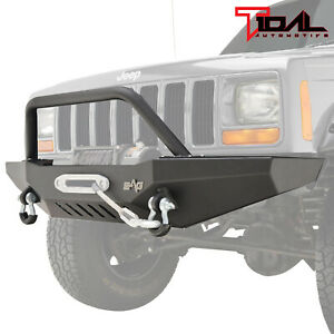 Tidal Fit For 84 01 Jeep Cherokee Xj Off Road Front Bumper W Winch Plate