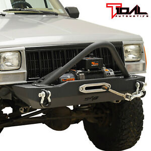 Tidal Fit For 84 01 Jeep Cherokee Xj Stubby Stinger Front Bumper W Winch Plate
