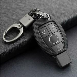 1x Carbon Fiber Smart Car Key Case Cover Fob Holder Accessory For Mercedes Benz