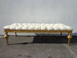 Bench Bed Vintage Vanity Wood Seating Tufted Hollywood Glam Regency French