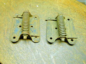 2 Antique Steel Spring Screen Door Hinges Vintage Door Hardware