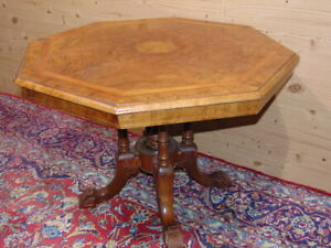 English Hexagonal Coffee Table In Inlaid Briar Victorian Age