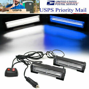 2pcs Cob Led 9 Modes Warning Strobe Emergency Traffic Advisor Auto Truck Lights