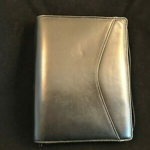 Black Leather Day Runner Pro Business System Vntg W Inserts Calculator Zip