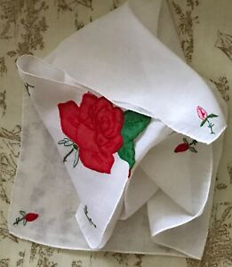 Vintage Handkerchief Embroidered Linen White Red Rose Flowers