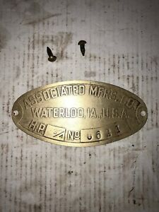 Associated 3 4hp Pony Hit Miss Stationary Engine Tag 6641