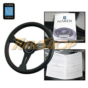 Italy Nardi Classic Type A 330mm Steering Wheel Black Perforated Leather Red s