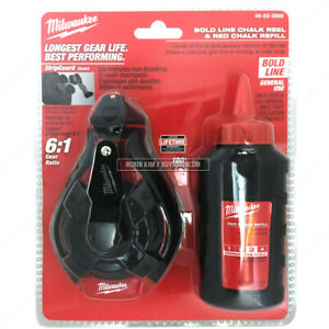 Milwaukee 48 22 3986 100 30m Bold Line Chalk Reel And Red Chalk Refill
