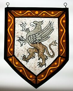 Stained Glass Hand Painted Kiln Fired Griffin Heraldic Shield Panel 2401 02