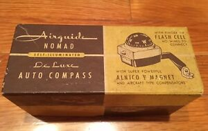 Vintage Original Airguide Nomad Self Illuminated Deluxe Auto Compass