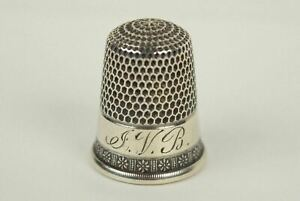 Antique Simons Bros Sterling Silver Thimble Size 10 Monogrammed