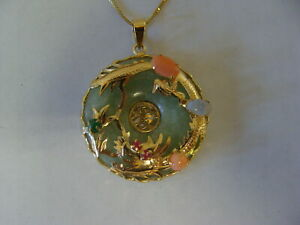 Vintage Jade And 14k Gold Chinese Dragon Necklace Pendant Coral
